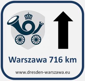 Hinweisschild Warschau