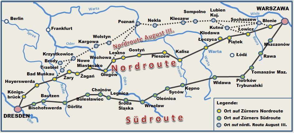 Barocke Poststraßen zwischen Dresden und Warschau nach ZÜRNER (1738)