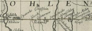 Auszug aus der deutsch-polnischen Reisekarte von 1751 (nach Homann)