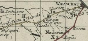 Auszug aus der polnischen Reisekarte (Homann, 1751)
