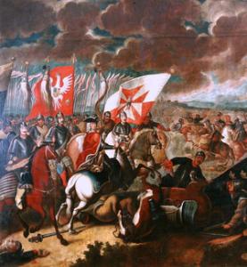 August der Starke in der Schlacht bei Kalisch, 1706