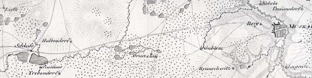 Wegführung zwischen Schleife und Bad Muskau (historische Kriegskarte, 1805)