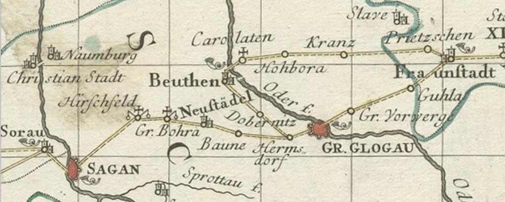 Verzweigung der Zürnerschen Route zwischen Sagan und Fraustadt, Auszug aus der polnischen Reisekarte von Homann, 1751