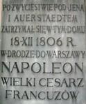 Tablica upamiętniająca wizytę Napoleona