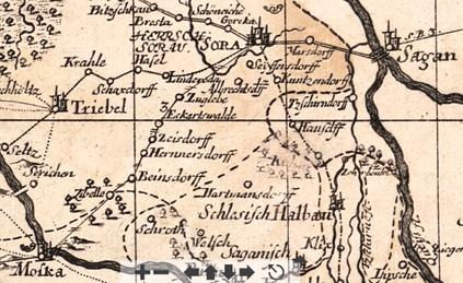 Wegbeziehungen zwischen Muskau und Sorau (Sächsisch Churfürstliche Postkarte, 1730, www.deutschefotothek.de)