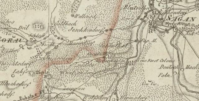 Historischer Wegverlauf zwischen Sorau und Sagan (1812; Quelle: www.deutschefotothek.de)